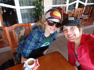 Jill and I having coffee before taking off