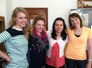 The girls of Pajove with our teacher, Besa. Yes, we are all wearing the same bright pink lipstick!