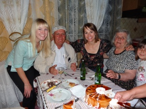 Emily and I with our host grandparents