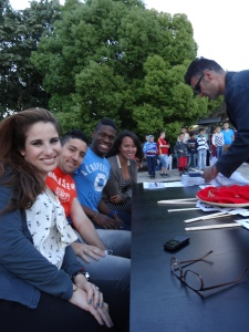 The volunteers and Brazilian soccer players