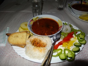 Albanian lunch- soup, bread, rice, kos, and veggies