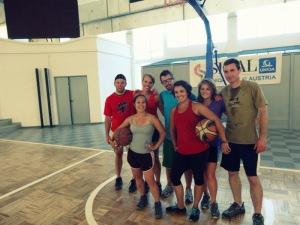 The group of us playing basketball