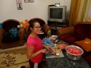 Chopping veggies for salsa!
