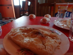 Byrek- a delicousy all over Albania. It can be filled with cheese, spinach, tomato, onion, all of the above or none of the above.