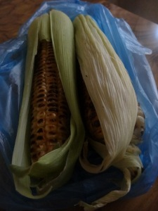 Grilled corn, a common snack here.