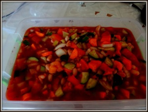Gazpacho! Now that I have room in my fridge for leftovers, I can cook!