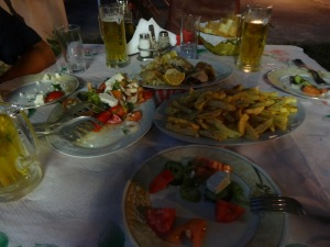 A typical Albanian meal- salad, meat and french fries.