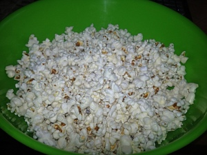 Popcorn- first time making it on the stove and it was a success!