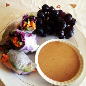 Spring Rolls with homemade peanut sauce