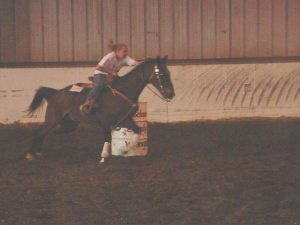 My first horse, learning how to barrel race