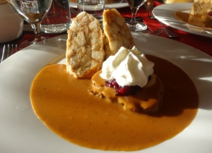 Typical Czech cuisine. Roast with cranberries and dumplings.