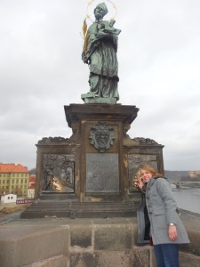 The mos famous statue on the Charles Bridge