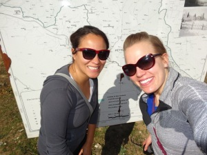 Liila and I hiking to the village of Benja