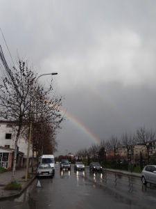 Double rainbow in Tirana