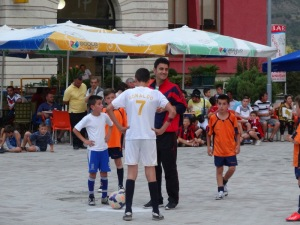 A soccer tournament in the center