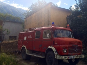 The firetruck in Permet. No joke.