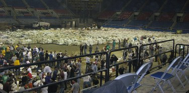 Part of the sandbagging efforts at the Fargo Dome.